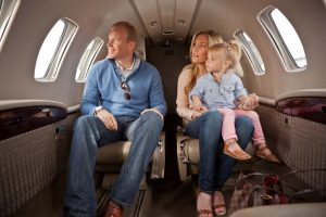 Family Riding in a Latitude 33 Aviation Private Jet
