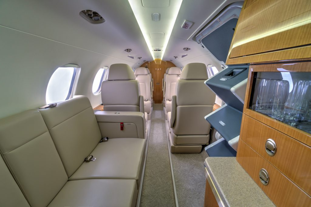 private aircraft charter interior design