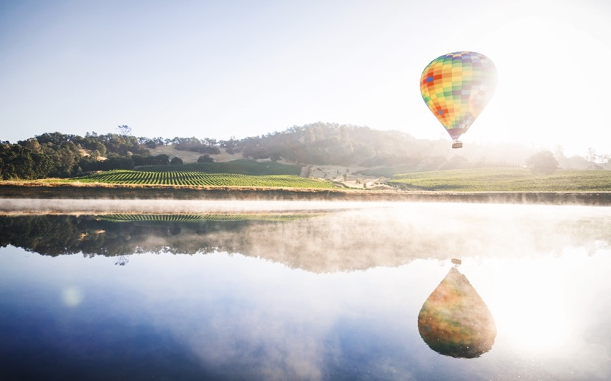 Private Jet to Napa to see a hot air ballon over a vineyard