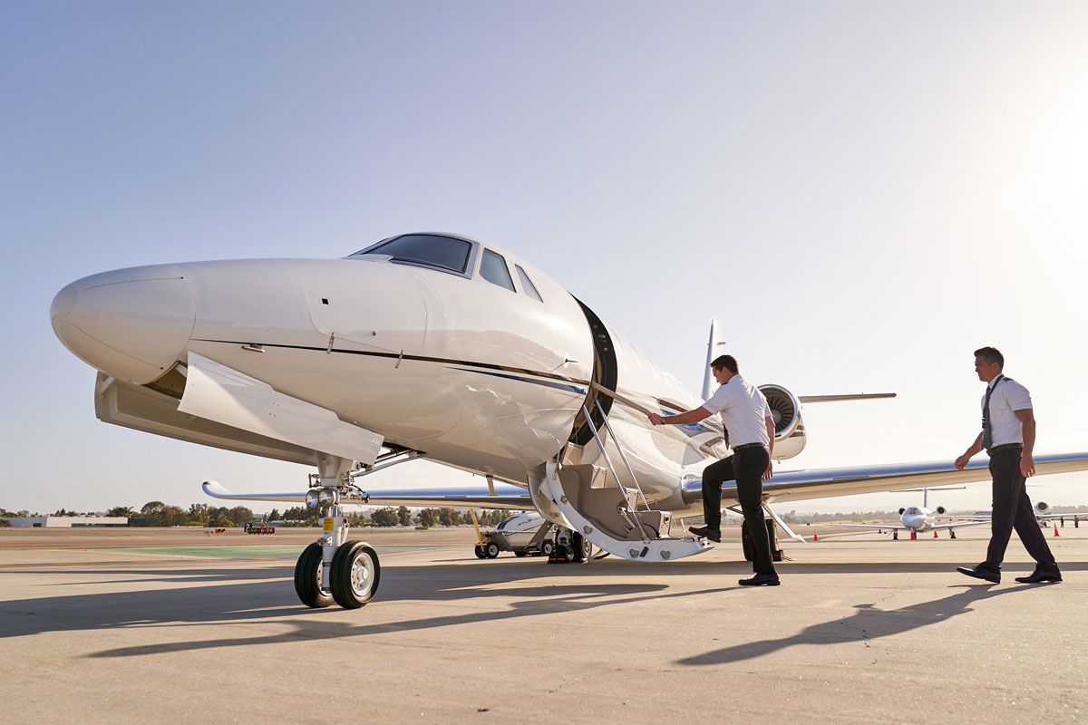 Latitude 33 Aviation pilots getting on board private jet