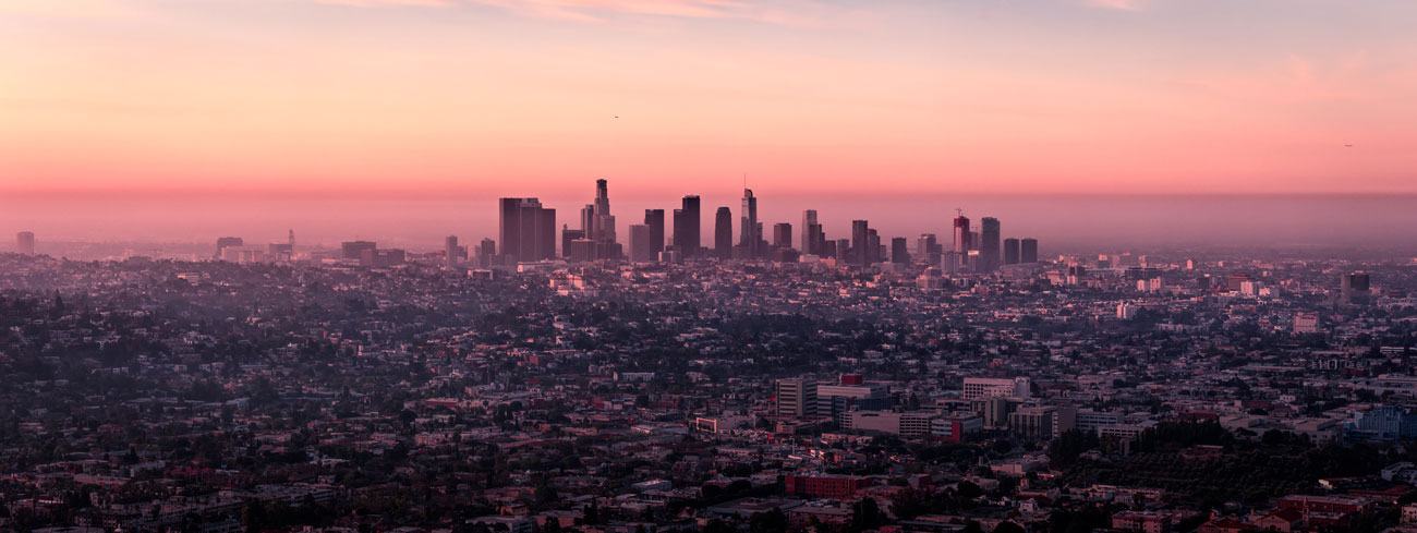 Private jet to Los Angeles to see the pink skyline of the city