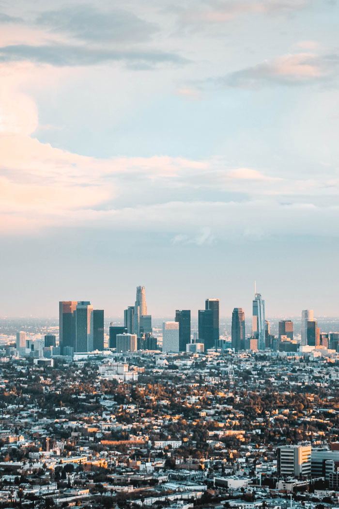 Private jet to Los Angeles, California to see the skyline of the city