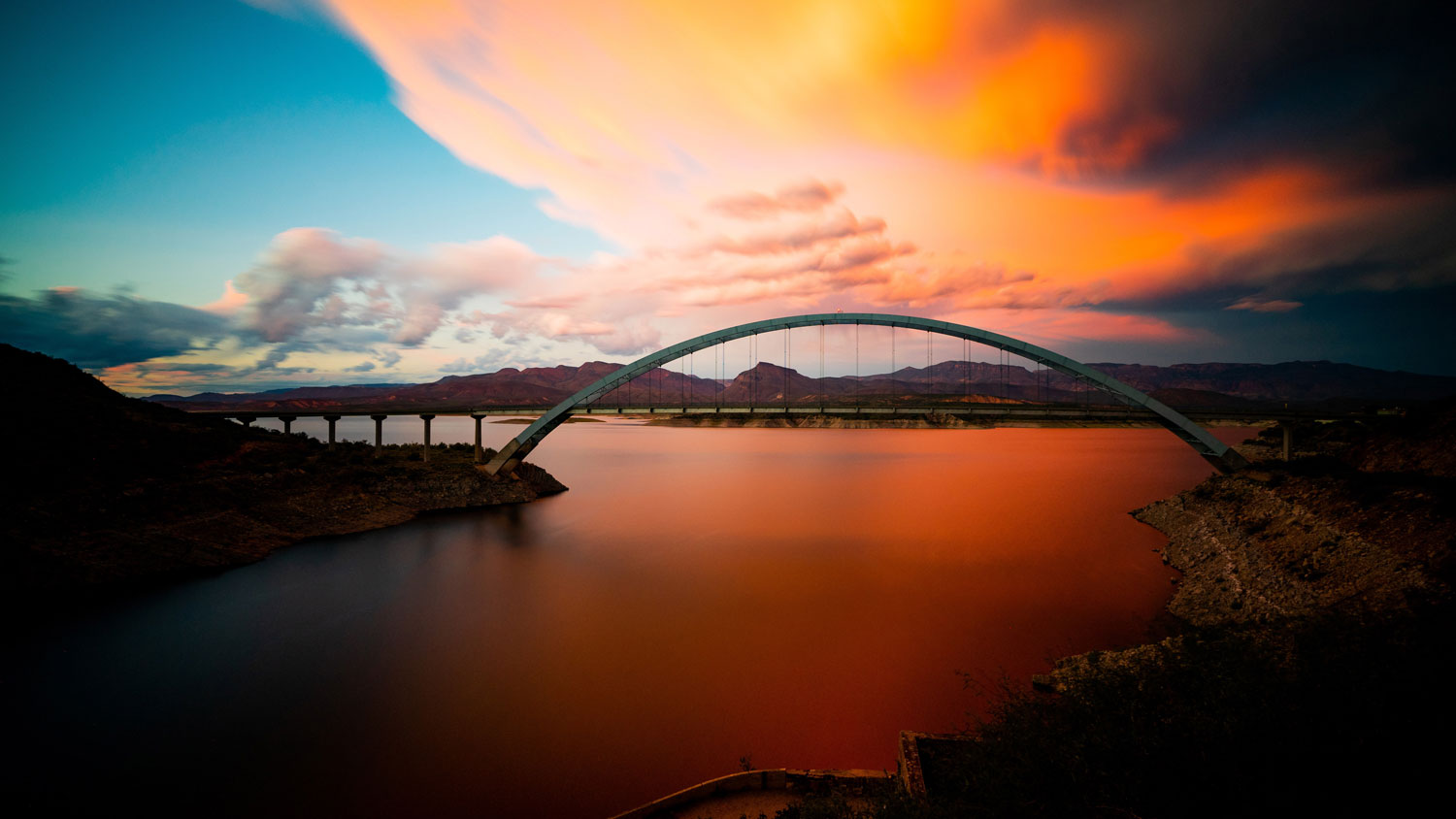 Private jet to the sunset in Phoenix with a bridge