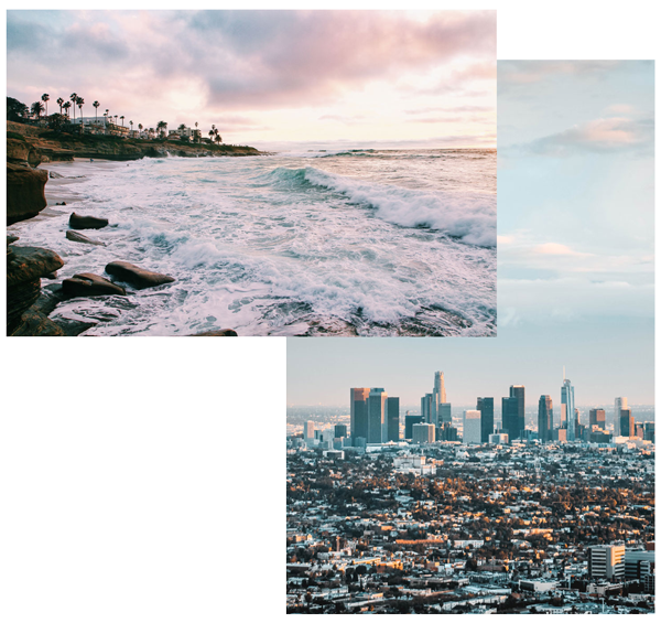 One way flights on a private jet to the beaches of San Diego or the city of Los Angeles