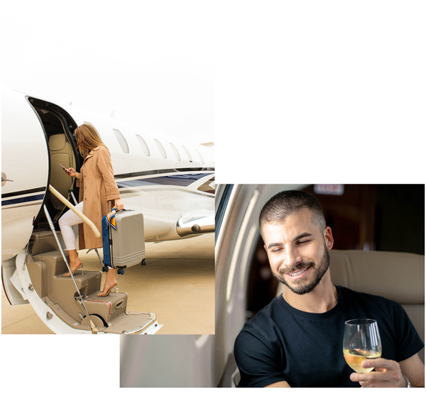 Woman walking on board a private jet one way flight and a man holding a wine glass on a private jet