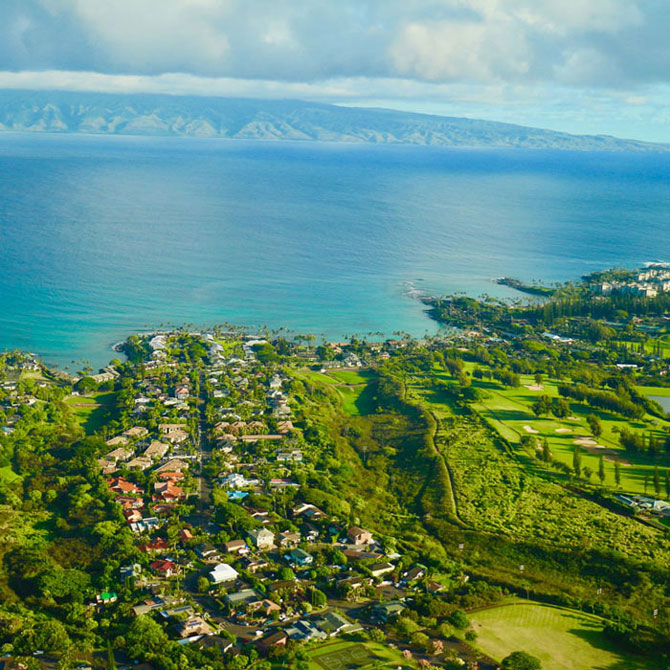 Private jet to Maui to see green fields and blue water at the ocean