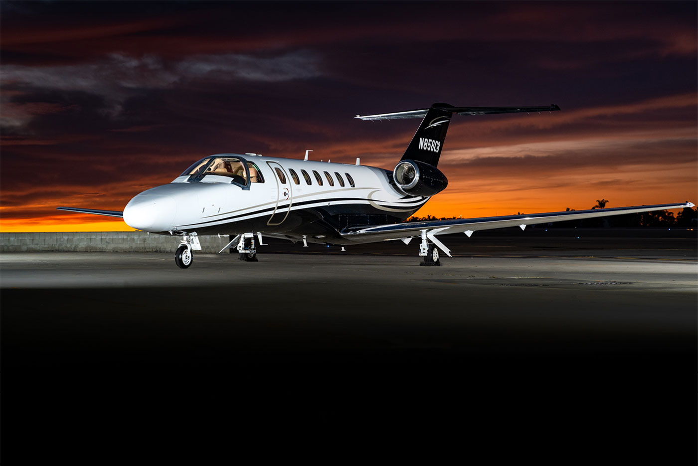 Latitude 33 Aviation 2016 Cessna Citation CJ3+ For Sale Exterior Sunset
