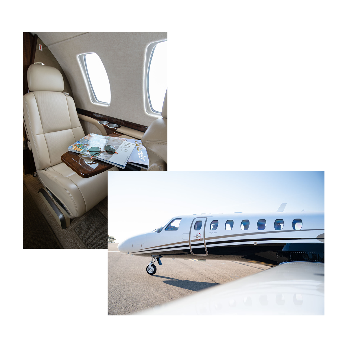 small private light jets interior and exterior with latitude 33 aviation